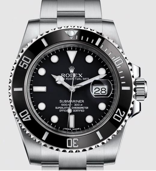 Relógio Eta - Mod Submariner Preto - Eta 2840. - Aço 904l