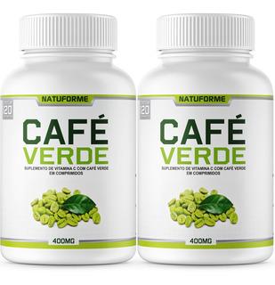 2 Potes Café Verde 400mg 120 Comprimidos Cada Pote