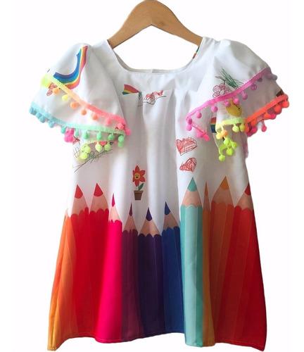 Imagem 1 de 5 de Vestido Infantil Colorido Aquarela Tucano Gatinho Criança
