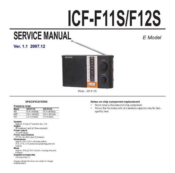 Esquema Radio Sony Icf F12s Icff12s Icf F12 Em Pdf