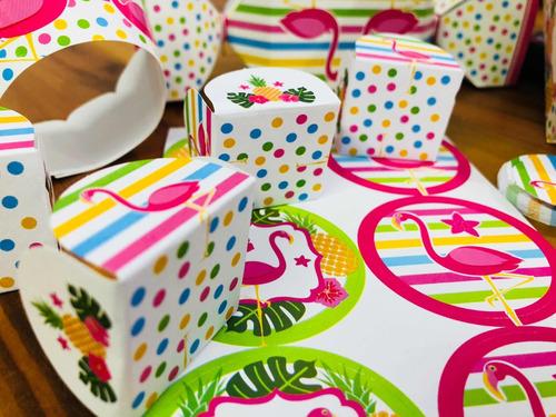 Imagem 1 de 10 de  Kit 550pç Completo  Forma Lembrancinhas Para Doces Flamingo