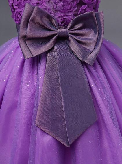 Vestido Infantil Festa Criança Princesa Laço Casamento Dama