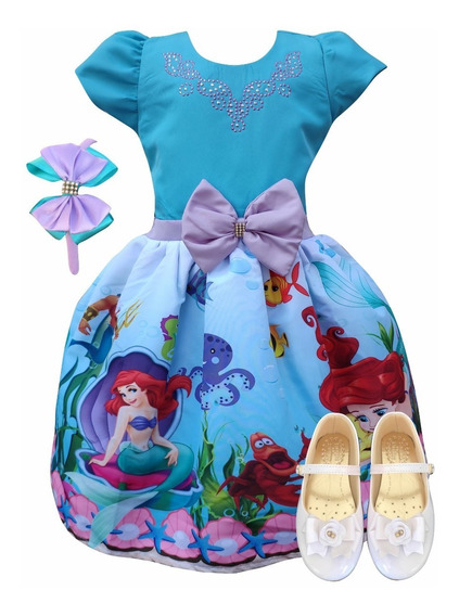 Vestido Ariel Pequena Sereia Lilás + Sapatilha + Tiara
