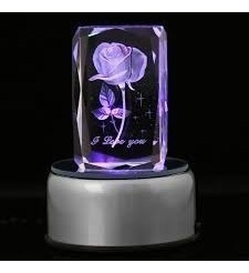 Base Luminosa Giratoria Luz 4 Led Decoracion Cubos Cristal