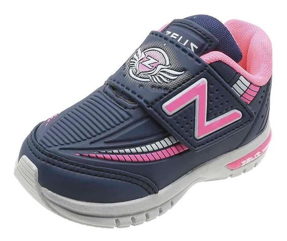 Tênis Zeus Kids Infantil Gelo/marinho/pink Atacadão Calçados