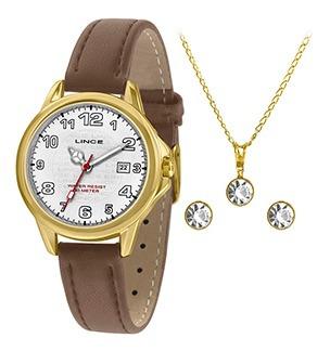 Kit Relógio Fem Lince Puls Couro 50m Ref. Lrch104l-kw56b2mx