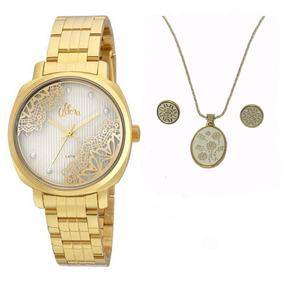 Kit De Relógio Allora Feminino Al2035fgi/k4k Dourado