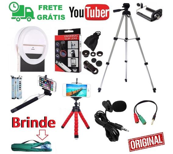 Kit Tripé 1,30m Microfone Lapela Flash Bastão Selfie Celular