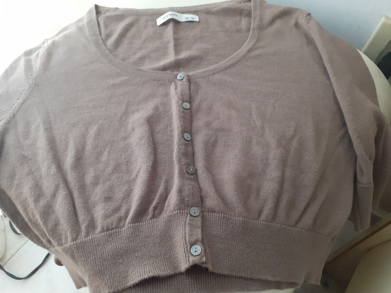 Sweater Crop Top Para Dama Color Marrón Con Botones Talla M
