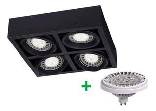 Aplique Plafon Box Ar111 Cardanico 4 Luces Led Lampara 48w