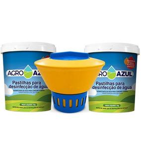 Flutuador E 15 Pastilhas De Cloro Agroazul P/trat.piscina