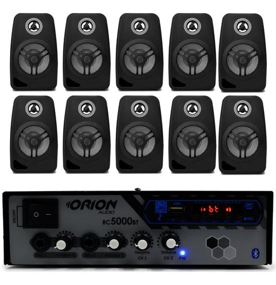 Kit Som Escritório Rc5000 Bluetooth + 10 Caixa Acustica 55w