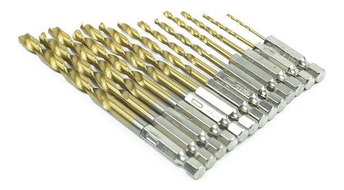 Embalaje de Caja de Hierro Port/átil Brocas de Acero de Alta Velocidad Herramientas Brocas Helicoidales Revestidas de Titanio 1,5 mm ~ 6,5 mm 13 PCS flintronic/® Juego de Brocas HSS