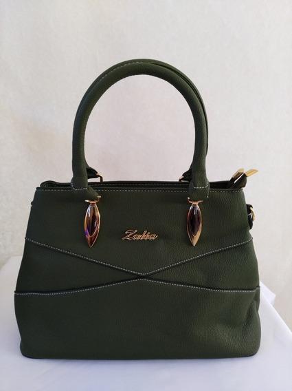Bolso Color Verde Olivo Costura Cruzada Ideal Para Regalo
