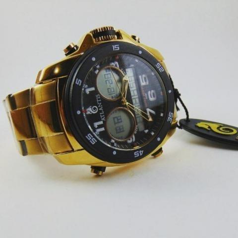 Relogio Atlantis G3216 Gold Analogo Digital Aço Fundo Preto