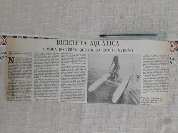 Recorte Jornal Matéria Bicicleta Aquática Fiberglass Silvana
