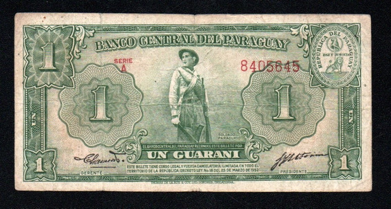 Paraguay Billete 1 Guarani Año 1952 P#185 Serie A
