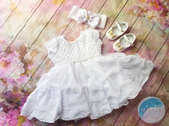 Roupa Para Batizado Menina Vestido Branco Sapato+faixa 2402