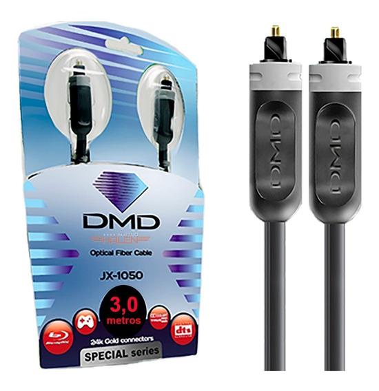 Cabo Fibra Óptica Óptico 3 Metros Dmd Jx1050 Áudio Digital