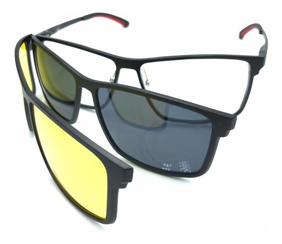 Oculos Clip On +2 Lentes De Dia E Noite Polarizado La2202