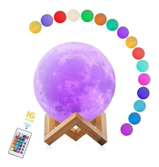 Luminária Lua Cheia 3d Toque Tapa Controle Remoto 15cm 16cor