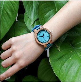 Relógio Feminino Em Madeira E Caixa Presente De Brinde