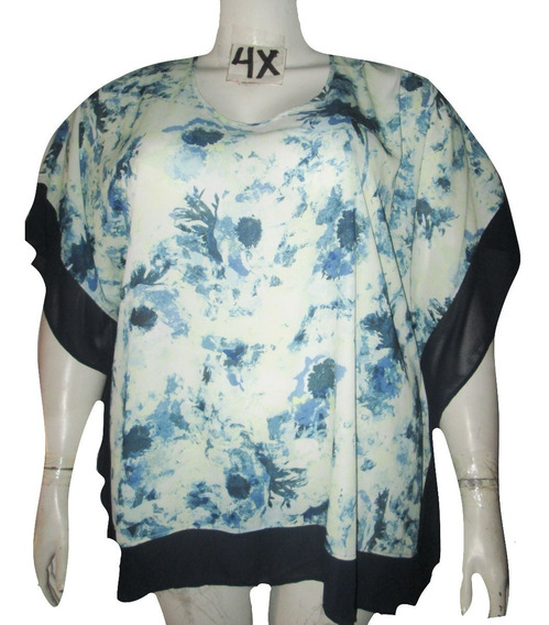 Blusa Bluson Crema Y Verde Estampada Corte Mariposa Talla 4x