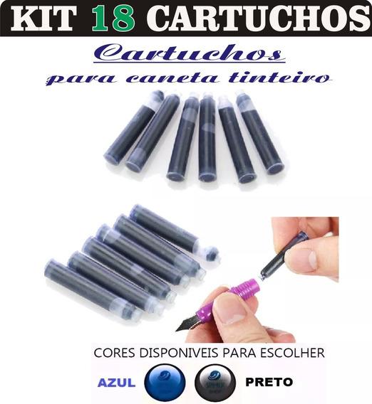 Kit 18 Cartuchos Tinta Carga Caneta Tinteiro - Azul E Preto