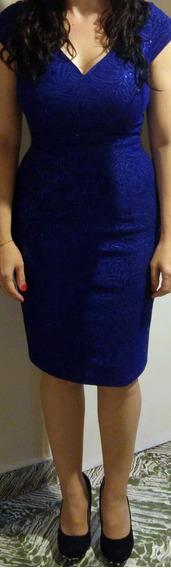 Vestido Azul Francia, Crepe De Seda Excelente Calidad