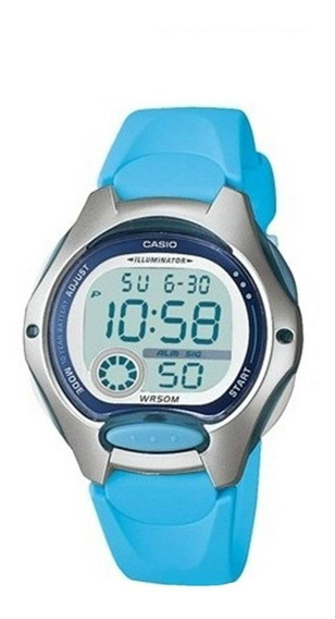 Relógio Casio Digital Mini Masculino Azul Lw200 Original