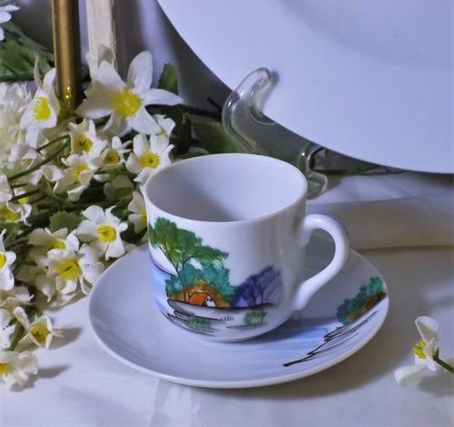 Bellísima Antigua Taza De Café Porcelana Japón Ocupado