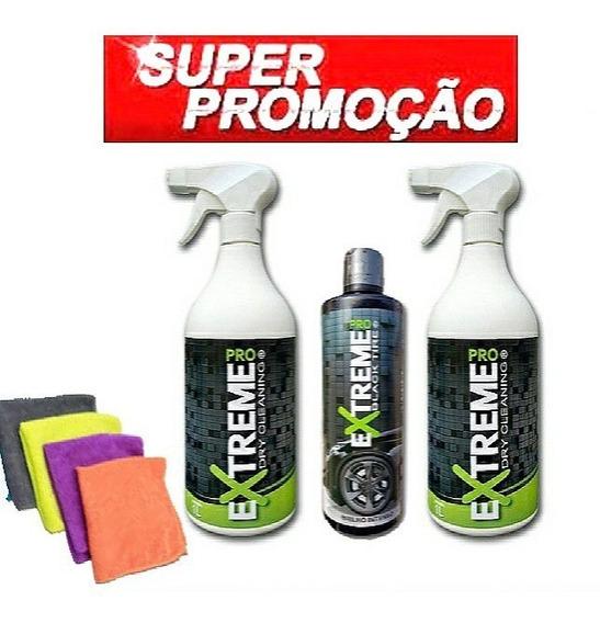 Kit 02 Unid Extreme Pro 1l Cada Liquido Com Carnaúba + 1 Pretinho Pneu Black Tire + 4 Flanela Microfibra Cristalizadora