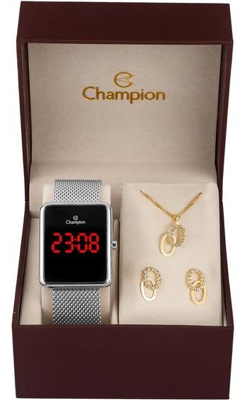 Relógio Champion Digital Quadrado Pulseira Corrente Original
