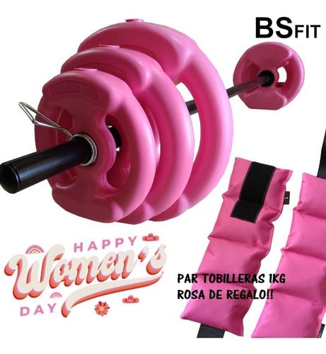 Kit Set 17 Kg Bsfit Discos C/ Agarre Pesas Barra Gym Combo