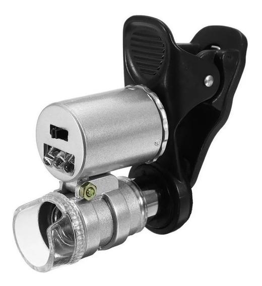 Mini Microscópio Lupa 60x Leds Manual Ou Celular Tubo Metal