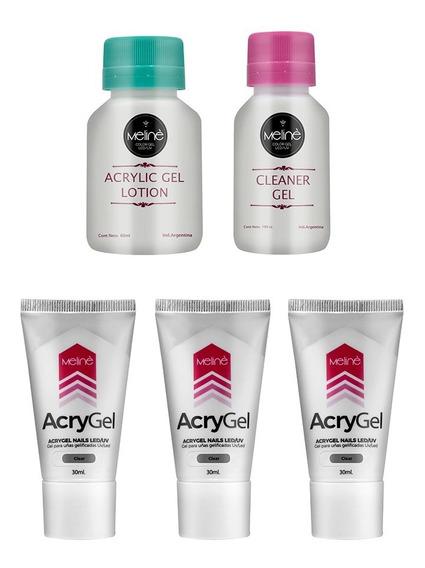 Meliné Combo 3x Acrygel + Cleaner + Acrylic Gel Lotion Meli