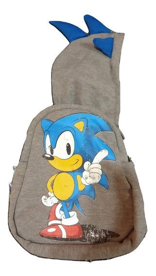 Mochilas Con Capucha Sonic Holograma Azul