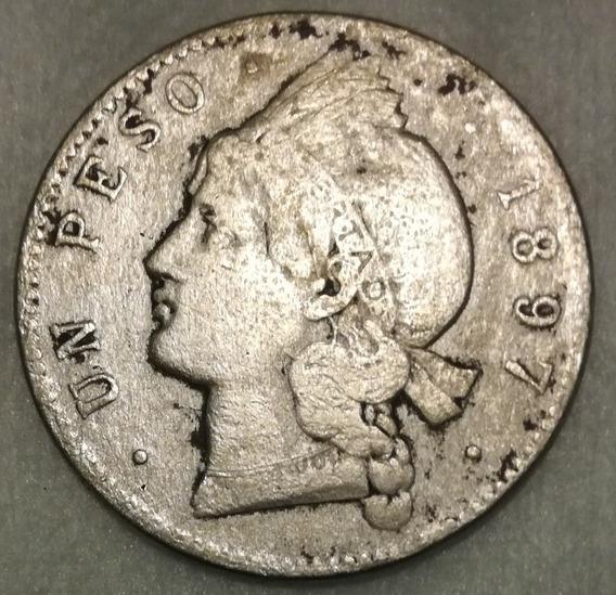 Moneda De Un Peso De Plata Del Ano 1897 De República Dominic