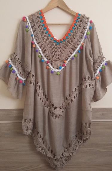 Vestido Saida De Praia Em Algodão Em Crochê