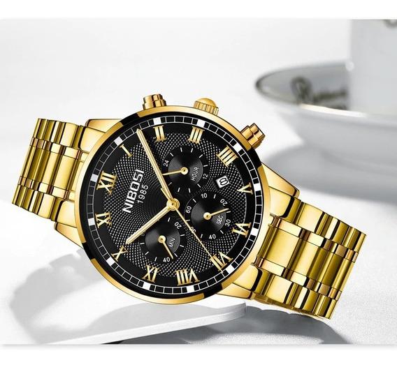 Relógio Masculino Dourado Luxo Exclusivo Original Nibosi