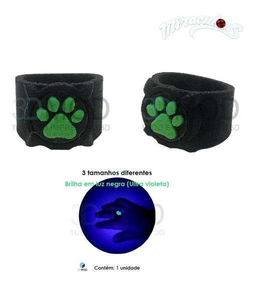 Anel Cat Noir - Miraculous Ladybug Brilha Em Luz Uv