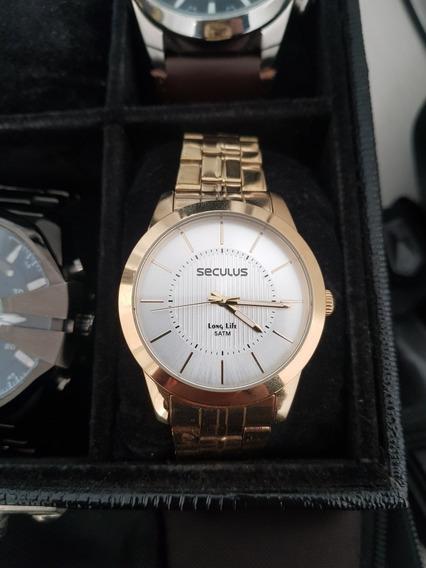 Relógio Seculus Feminino Dourado Ainda Na Garantia