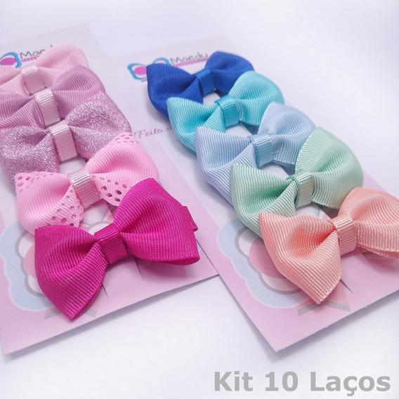 Kit 10 Laços De Bebê Na Presilha Tipo Bico De Pato Lacinhos