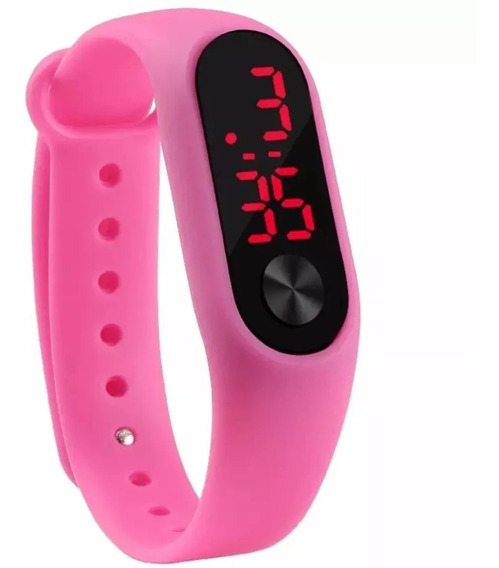 Relógio Digital Esportivo Bracelete Led Rosa Feminino Menina