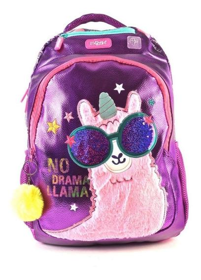 Mochila Espalda Kooshi Llama Fashion Con Peluche 17 Pulgadas