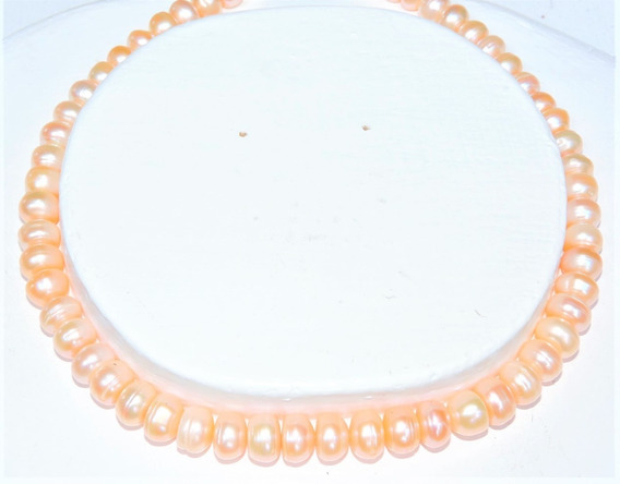 Collar Perlas Cultivada Rondana Color Natural 10 Mm