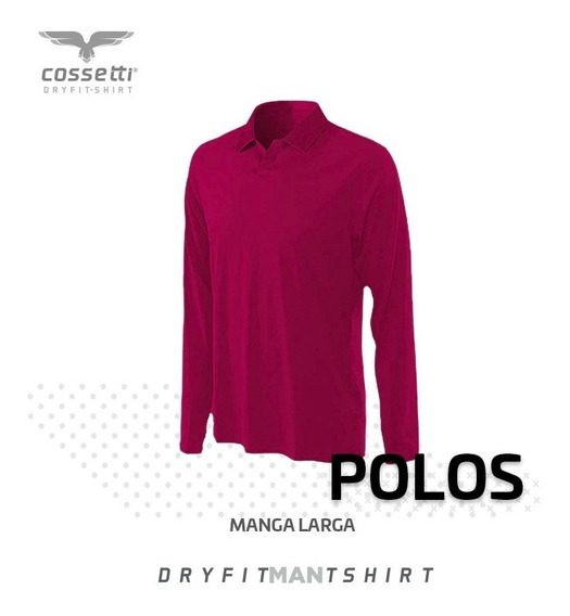 Playera Tipo Polo Cossetti Manga Larga Dry Fit Mujer