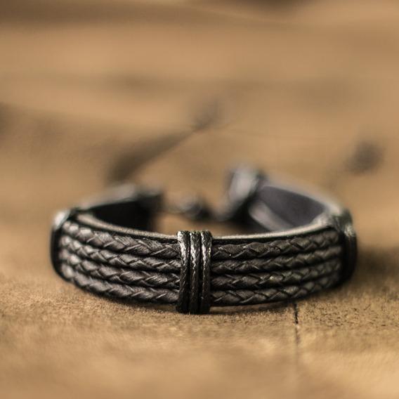 Pulseira Masculina De Couro Marrom E Branco Bracelete