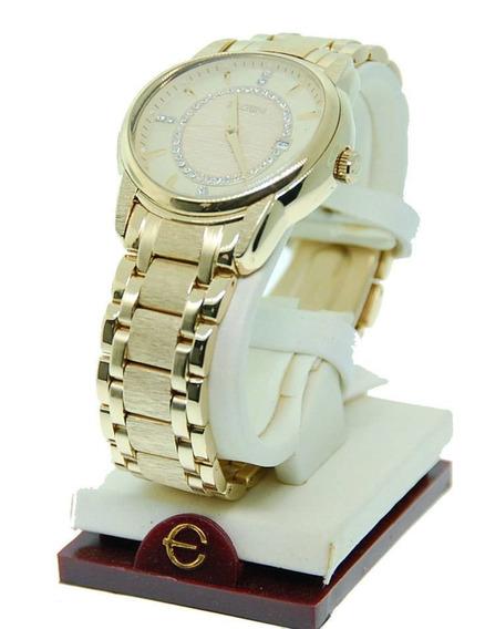 Relógio Elgin Dourado Ouro Cristais Austríacos Gold Tone