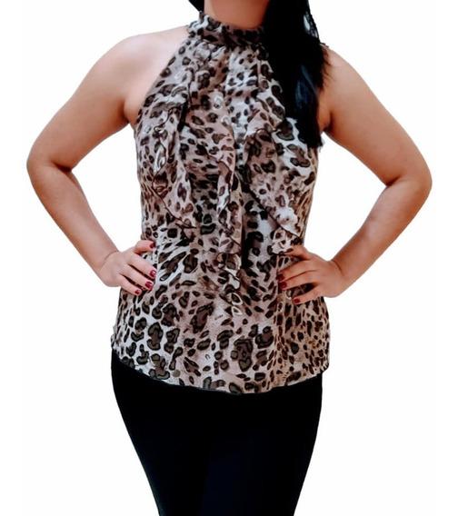 Blusa Halter Animal Print Top Nuevo Mujer Juvenil Moda